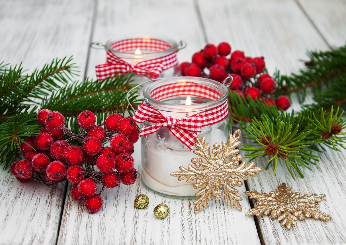 Arranjo natalino para mesa de jantar